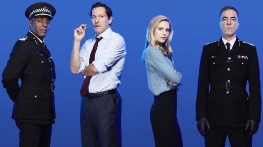 Die Babylon-Crew (v.l.n.r.): Charles (Paterson Joseph), Finn (Bertie Carvel), Liz (Brit Marling) und Richard (James Nesbitt)