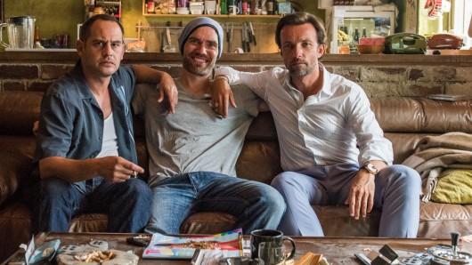Am Set von Lommbock: Kai (Moritz Bleibtreu), Christian Zübert (Regisseur), Stefan (Lucas Gregorowicz)