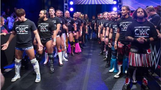 Aufmarsch der Gladiatoren: Unter den 32 Teilnehmern des Cruiserweight Classic-Turniers der WWE befindet sich auch die deutsche Wrestling-Hoffnung Da Mack (2. v. r.)