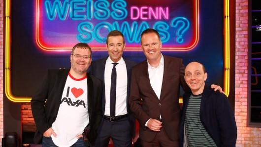 Die Samstagshow Das unvorstellbare Wissensquiz mit Kai Pflaume mit Elton, Kai Pflaume, Christian Sievers, Bernhard Hoëcker (v.l.)