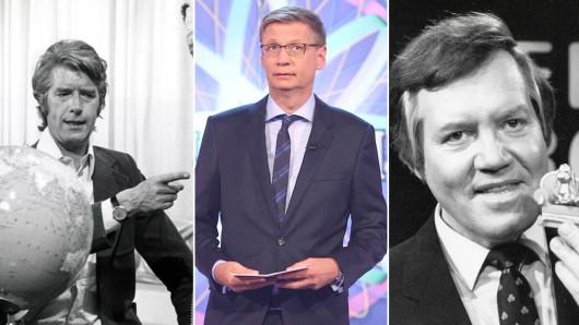Große Showmaster: Rudi Carrell (Am laufenden Band), Günther Jauch (Wer wird Millionär) und Wim Thoelke (Der große Preis)