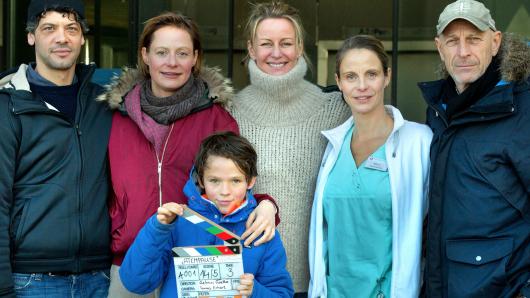 Carlo Ljubek, Katharina Marie Schubert, Mikke Rasch, Aelrun Goette (Regie), Julia Jäger (Schwester Maria), Tomas Erhart (Kamera, v.l.)