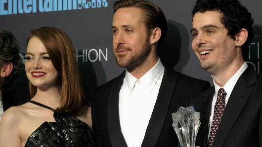 Emma Stone, Ryan Gosling, Damien Chazelle (v.l.