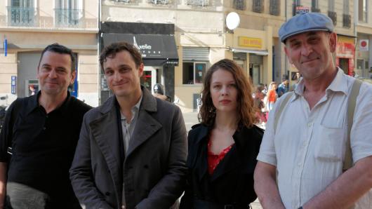 Regisseur Christian Petzold mit seinen Darstellern Franz Rogowski und Paula Beer sowie Bildgestalter Hans Fromm