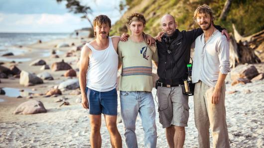 Rimbaud (Peter Schneider), Ed (Jonathan Berlin), Regisseur Thomas Stuber und Kruso (Albrecht Schuch)