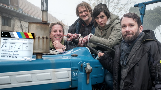 Regisseur Richard Huber mit seinen Darstellern Jörn Hentschel, Nora Tschirner und Christian Ulmen (v.l.)