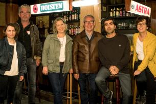 Nurhan Şekerci-Porst, Heinz Strunk, Jacqueline Jagow und Willi Geike von Warner Bros., Fatih Akin und Maria Köpf (v.l.)