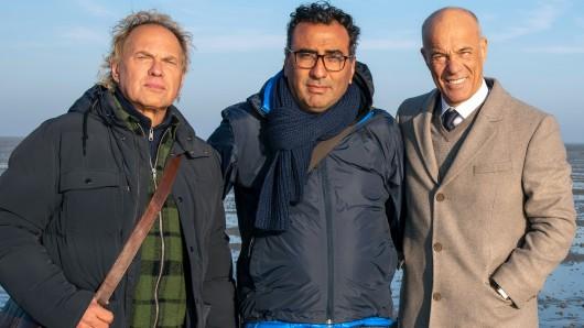 Regisseur Sinan Akkus (M.) mit seinen beiden Stars Uwe Ochsenknecht (l.) und Heiner Lauterbach