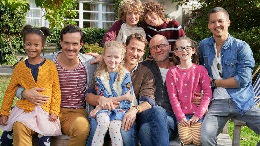 Die Väter (und ihr Film-Nachwuchs) am Set: Tobias van Dieken. David Rott, Peter Lohmeyer und Tim Oliver Schultz (v.l.)