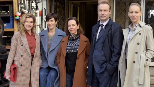 Regisseurin Barbara Kulcsar (M.) mit ihren Darstellern Anke Engelke, Nina Kunzendorf. Mark Waschke und Petra Schmidt-Schaller (v.l.)