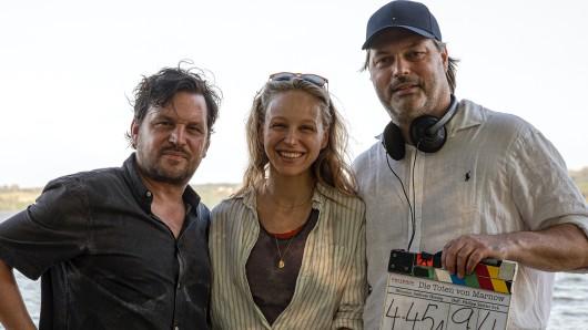 Regisseur Andreas Herzog (r.) mit seinen beiden Hauptdarstellern Sascha Gersak und Petra Schmidt-Schaller