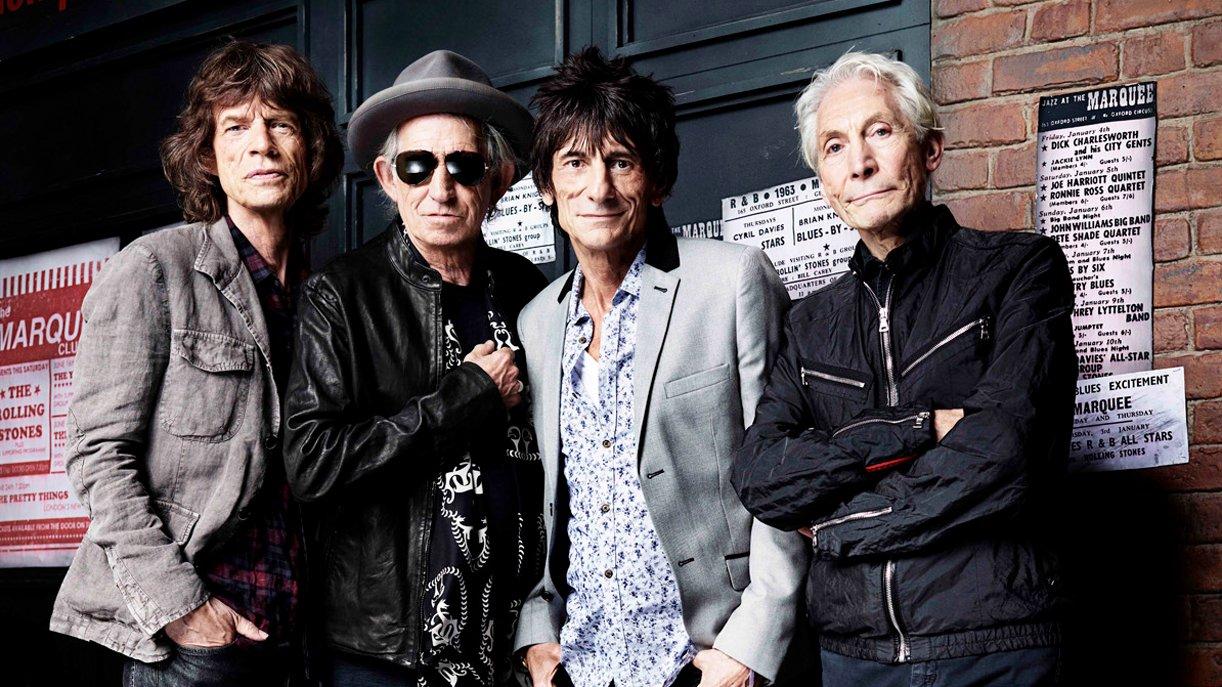 Die Rolling Stones vor dem Londoner Marquee Club im Jahre 2012: Mick Jagger, Keith Richards, Ron Wood, Charlie Watts (v.l.)