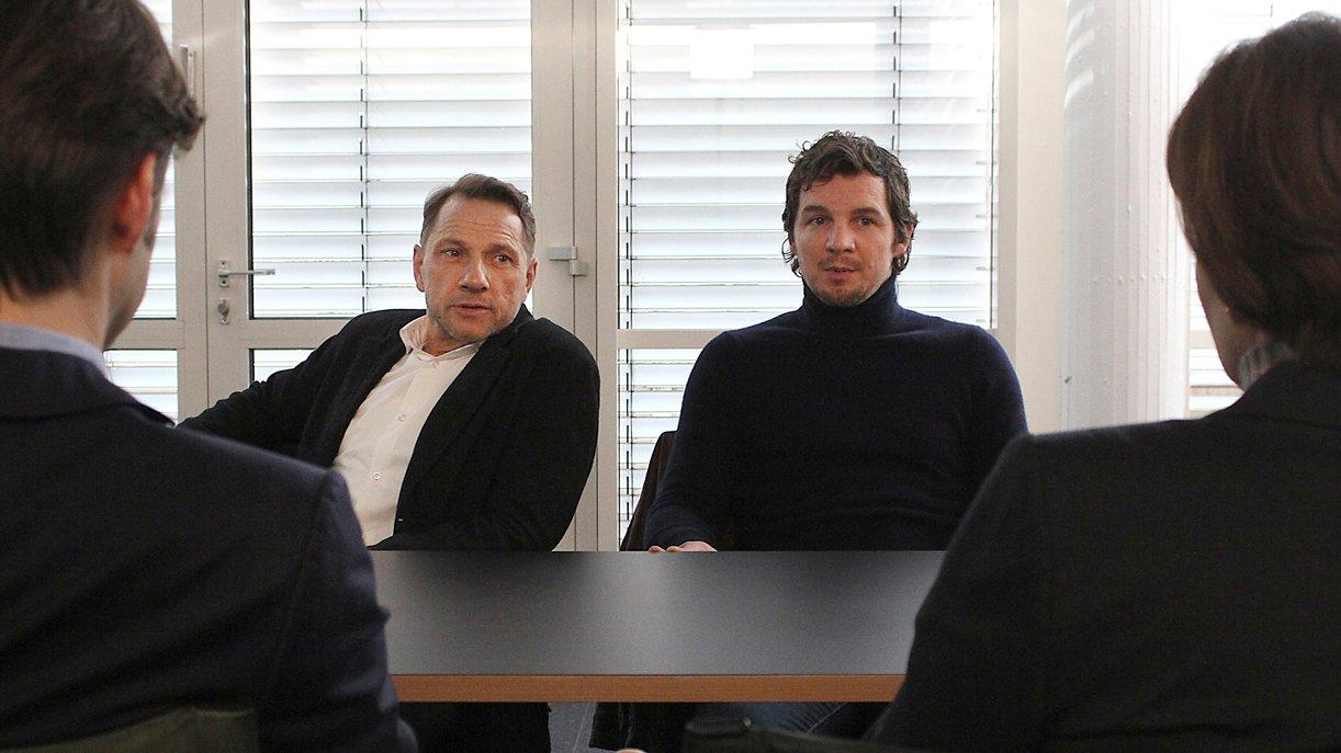 Das Tatort-Team aus Stuttgart: Thorsten Lannert (Richy Müller, r.) und Sebastian Bootz (Felix Klare, l.). Foto:  © SWR/Johannes Krieg