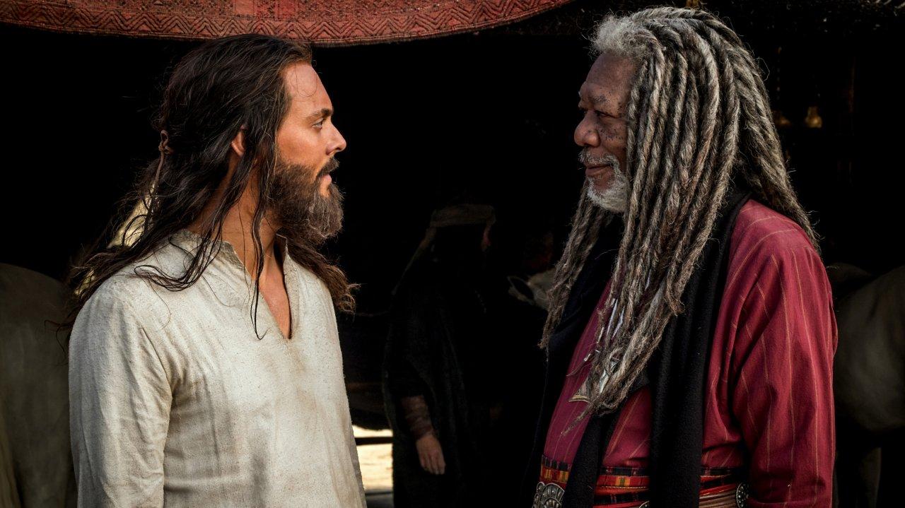 Judah Ben-Hur (Jack Huston) und vor allem sein Mentor Ilderim (Morgan Freeman) haben die Haare schön