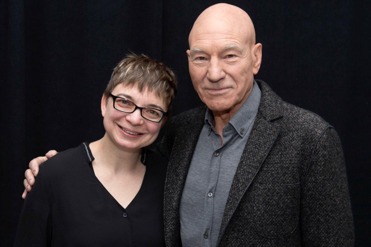 Patrick Stewart und GOLDENE KAMERA-Korrespondentin Anke Hofmann