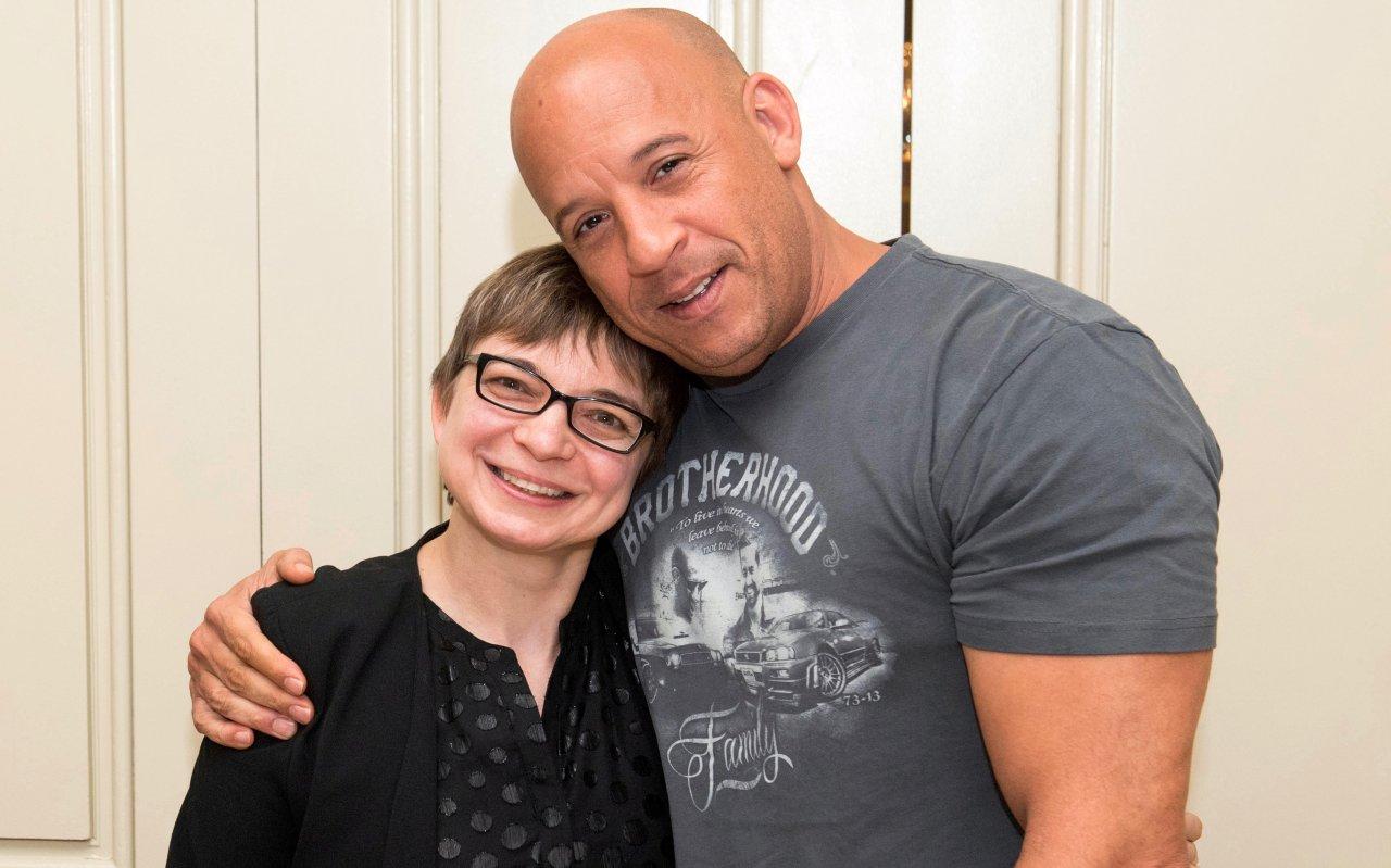 Vin Diesel und GOLDENE KAMERA-Korrespondentin Anke Hofmann