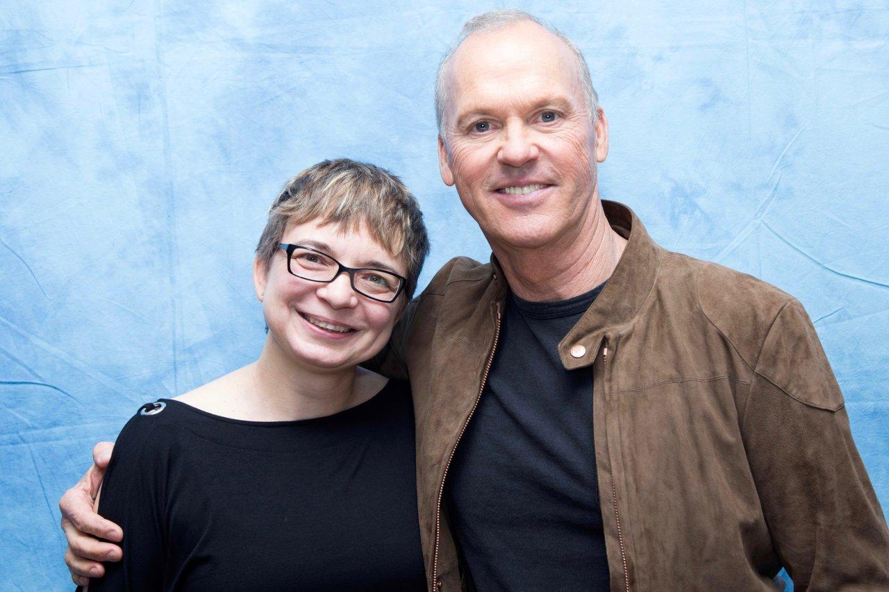 Michael Keaton und GOLDENE KAMERA-Korrespondentin Anke Hofmann