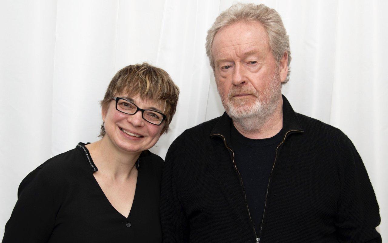 Ridley Scott und GOLDENE KAMERA-Korrespondentin Anke Hofmann