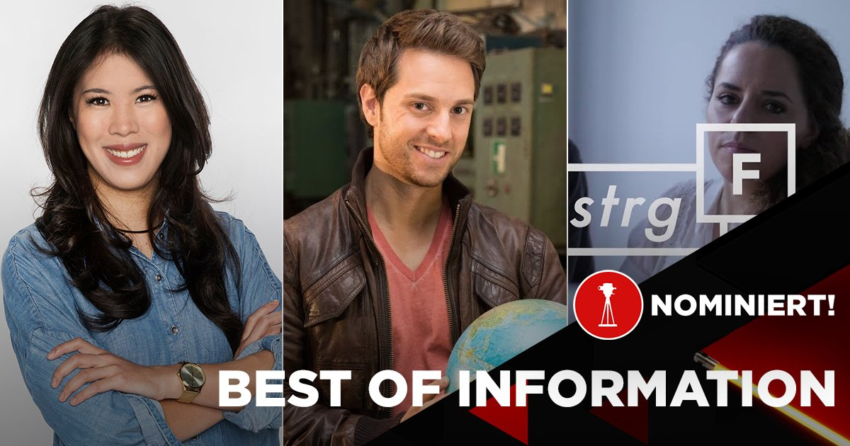 """Mai Thi Nguyen-Kim, Mirko Drotschmann und das Reporternetzwerk """"STRG_F"""" sind nominiert in der Kategorie """"Best of Information"""""""
