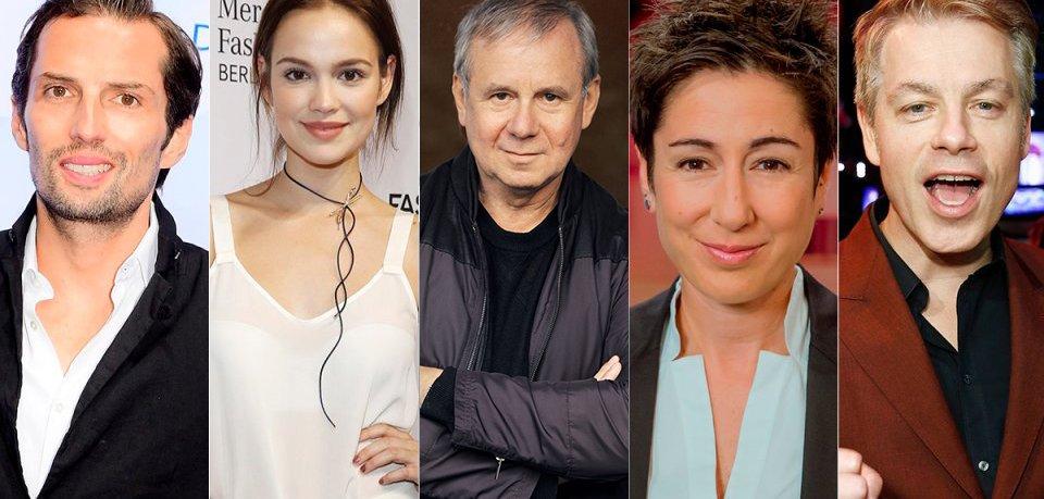 Unsere Jury für die GOLDENE KAMERA 2018: Quirin Berg, Emilia Schüle, Joachim Król, Dunja Hayali und Michael Mittermeier.