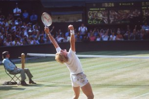 Boris Becker bei seinem Sieg in Wimbledon 1985.