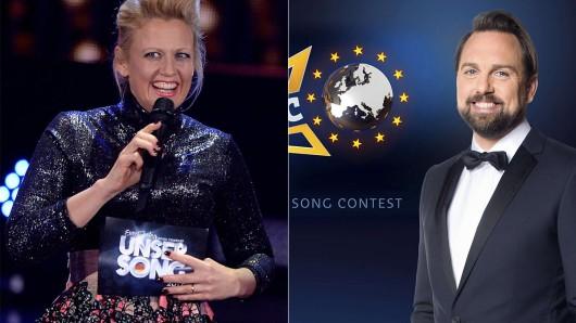 Barbara Schöneberger und Steven Gätjen treten am Samstag in einem Fernduell gegeneinander an.