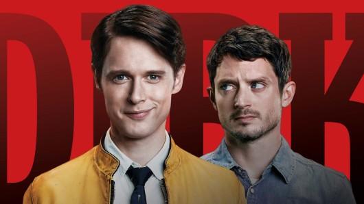 Dirk Gently (Samuel Barnett, l.) und Todd Brotzman (Elijah Wood) © BBC America