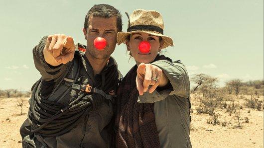 Ex-Elitesoldat Edward Bear Grylls und Julia Roberts unterstützen den Red Nose Day.