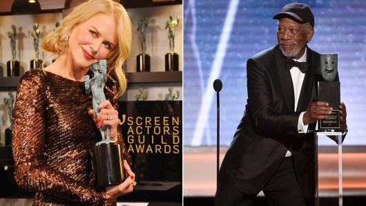 Halten einen SAG–Award in der Hand: Nicole Kidman (50) und Morgan Freeman (80). Foto: Getty Images.