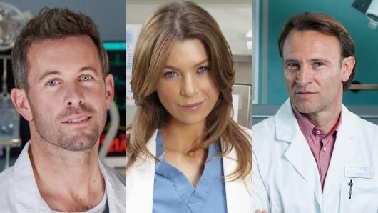 Das sind nur drei der derzeitigen Stars unter den Weißkitteln (v.l.): Jan Hartmann in Lifelines, Ellen Pompeo in Grey's Anatomy und Bernhard Bettermann in In aller Freundschaft.