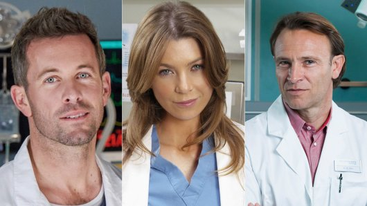 Das sind nur drei der derzeitigen Stars unter den Weißkitteln (v.l.): Jan Hartmann in Lifelines, Ellen Pompeo in Grey's Anatomy und Bernhard Bettermann in In aller Freundschaft.