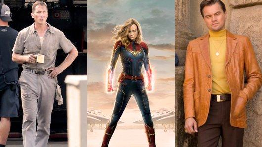 Drei der  Kino-Knaller 2019: Ford v. Ferrari mit Christian Bale (Start: 27. Juni), Brie Larson als Captain Marvel (Start: 7. März) und Brad Pitt in Once Upon a Time in Hollywood (Start: 8. August).