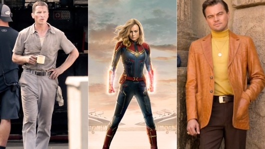Drei der  Kino-Knaller 2019: Ford v. Ferrari mit Christian Bale (Start: 27. Juni), Brie Larson als Captain Marvel (Start: 7. März) und Brad Pitt in Once Upon a Time in Hollywood (Start: 8. August).