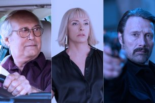 """Sie stehen bei Netflix zum Abruf bereit: Chevy Chase in """"The Last Laugh"""", Toni Collette  in """"Die Kunst des toten Mannes"""", Mads Mikkelsen in """"Polar""""."""