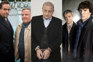 """Der """"Tatort"""" aus Münster mit Kommissar Thiel (Axel Prahl, r) und Prof. Boerne (Jan Josef Liefers, l), Georg """"Wilsberg"""" (Leonard Lansink) und """"Sherlock"""" mit Sherlock Holmes (Benedict Cumberbatch, li.) und Dr. John Watson (Martin Freeman)."""