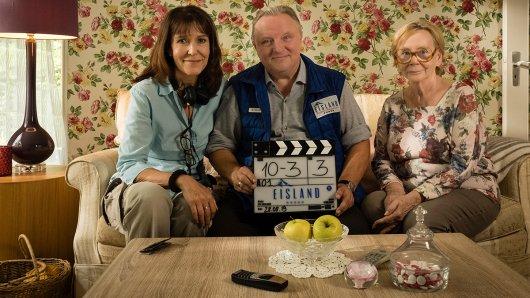 Ute Wieland (Regie), Axel Prahl und Christine Schorn drehen den Film Eisland.