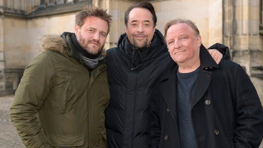 Stehen jetzt in Münster am Set: Regisseur Max Zähle, Jan Josef Liefers und Axel Prahl (v.l.)