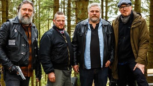 v. li. n. re.: Nicki von Tempelhoff (Rolle Andy Blome), Aurel Manthei (Rolle Bert Groll), Aljoscha Stadelmann (Rolle Frank Koops) und Markus Sehr (Regie).