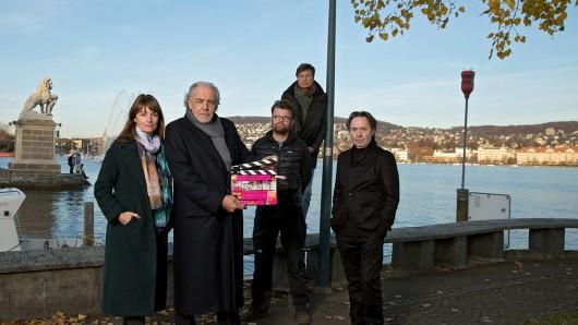 V.l.n.r.: Ina Paule Klink (Rolle: Dominique Kuster), Christian Kohlund (Rolle: Thomas Borchert), Max Knauer (Kamera), Roland Suso Richter (Regie), Uwe Kockisch (Rolle: Antonius Bildermann).