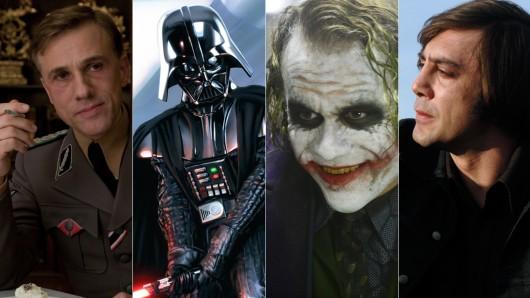 Platz 3: Hans Landa (Christoph Waltz); Platz 4: Darth Vader (David Prowse); Platz 5: Der Joker (Heath Ledger) und Platz 10: Anton Chigurh (Javier Bardem) (v.l.)