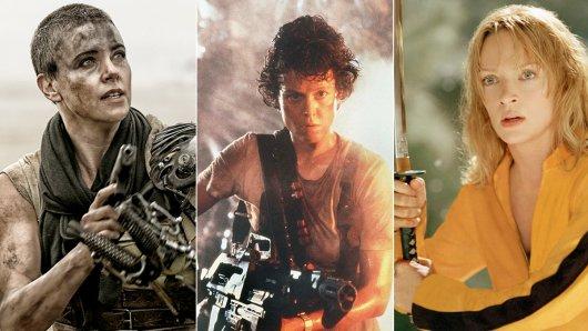 Die Top 2 der Action-Heldinnen: Charlize Theron (l.), Sigourney Weaver (M) und Uma Thurman.