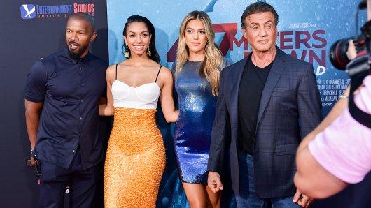 Familienausflug a la Hollywood: Jamie Foxx mit Tochter Corinne (l.) und Sylvester Stallone mit Tochter Sistine bei der Premiere ihres Horrorfilms 47 Meters Down: Uncaged