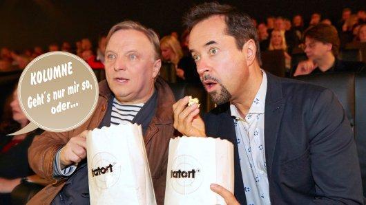 Axel Prahl und Jan Josef Liefers 2014 bei der Kino-Preview des 25. Münster-Tatort Der Hammer.
