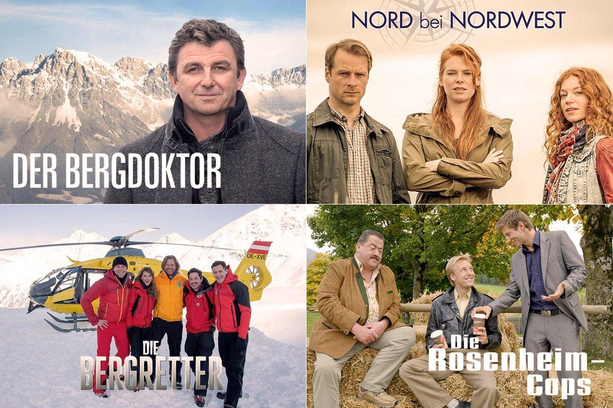 """Die TOP 4 bei der diesjährigen Publikumswahl um die """"Beliebteste Heimat-Serie: """"Die Bergretter"""" (ZDF), """"Der Bergdoktor"""" (ZDF), Nord bei Nordwest"""" (Das Erste) und """"Die Rosenheim- Cops"""" (ZDF)."""