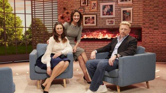 Désirée Nosbusch mit ihren prominenten Gästen Boris und Lilly Becker (l.).