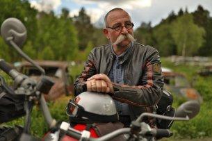 Horst Lichter auf seinem Motorrad in Norwegen.