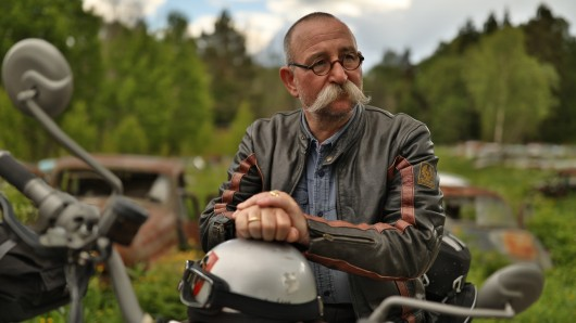 Glücklich fühlt sich Horst Lichter, wenn er auf seinem Motorrad sitzt.